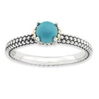 Sterling Silver & 14k Turquoise Antiqued Ring
