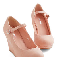 ModCloth Minimal Who Neutral? Wedge in Blush