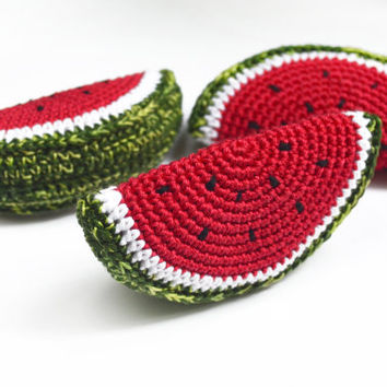 Crochet Watermelon slice - Crochet toy - Teething Toy - Pretend food