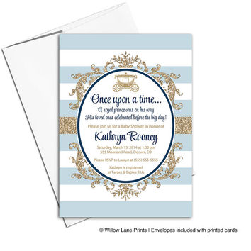 Royal Prince Baby Shower Invitation for a boy | navy blue and gold baby shower invites | printable or printed - WLP00716