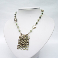 Chainmaille Pendant, Agate Necklace, Grey Gemstone Necklace, Handmade Necklace, UK Seller