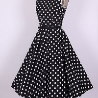"50s ""Audrey Hepburn"" Style Black White Dots Dress Size S-4X  Pinup  Swing"