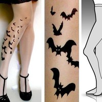Small/ Medium  sexy BATS tattoo tights / stockings/ full by post