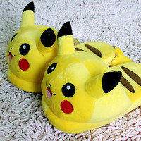 "Nintendo Pokemon Pikachu 11"" Adult Plush Slipper 1 Pair Anime cosplay"
