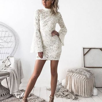 High Neck Long Trumpet Sleeves Short Lace Bodycon Dress