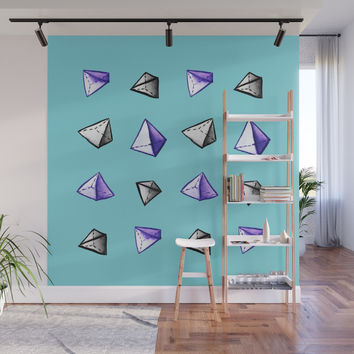 Blue Geometric Watercolor Pyramid Pattern Wall Mural by borianagiormova