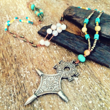 Tuareg cross boho necklace