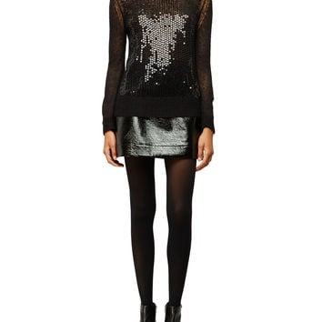 Michael Michael Kors Crewneck Sequined Mesh Sweater LAVELIQ