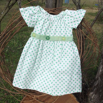 Baby Girl Peasant Dress, size 2,  green polka dot, sash, trim, flutter sleeves, summer