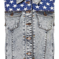 MOTO Acid Flag Sleeveless Biker Jacket - Denim  - Apparel