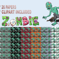 ZOMBIE PAPERS, 26 Creepy Backgrounds, Zombie Apocalypse Clipart, Size 12x12 Halloween Paper, Spooky Digital Collage, ZOMBIE, Haunted Clipart