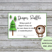 Diaper Raffle Ticket Cards Printable Bear Baby Shower Games Diaper Raffle Insert for Neutral Baby Shower invitations Instant Download (b1dr)