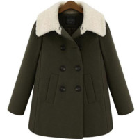 Long Sleeves Button Pockets Padded Loose Fur Coat