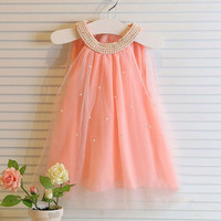 Girls Elegant Beaded Princess Dress