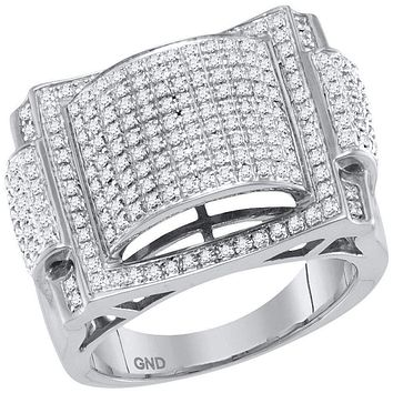 10kt White Gold Men's Round Pave-set Diamond Dome Convex Cluster Ring 5/8 Cttw - FREE Shipping (US/CAN)