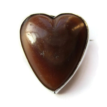 Antique Scottish agate & sterling silver heart brooch, Victorian or Edwardian, 'c' catch, chalcedony sweetheart Valentine's Day gift, #231.