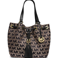 Jet Set Logo Jacquard Gathered Tote Bag, Beige/Black - MICHAEL Michael Kors