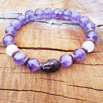 Amethyst Yoga Bracelet Copper Buddha Amethyst Rose Quartz Wrist Mala Gemstones Beaded Stretch Mala Spiritual Gifts