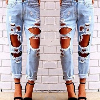 LMFDQ7 Womens Light Blue Big Hole Design Boyfriend Jeans Denim Pants