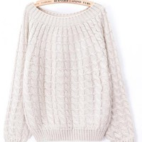 Vintage Pure Twist Weave Texture Sweater White$50.00