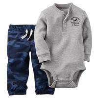 Carter's Thermal Henley Bodysuit & Camo Pants Set - Baby Boy, Size: