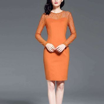 2018 new plus women and warm dress knitting long sleeve business ol dresses for lady Knee-Length Dress Work Dress