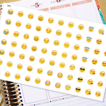 Emoji Smilie Face Planner Stickers to be used with Erin Condren LifePlanner (ECLP), Happy Planner, Inkwell Press Planner-77 Stickers (#5019)