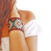 Huichol authentic bracelets cuffs Ethnic Jewelry by AidaCoronado
