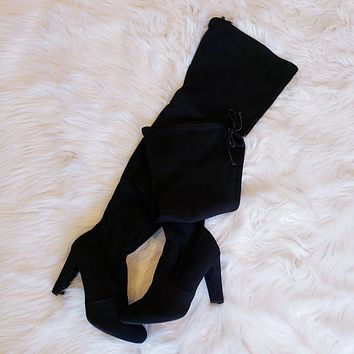 Diva thigh high black boots