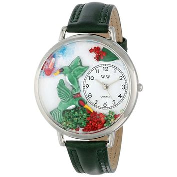 SheilaShrubs.com: Unisex Hummingbirds Pink Leather Watch U-1210003 by Whimsical Watches: Watches