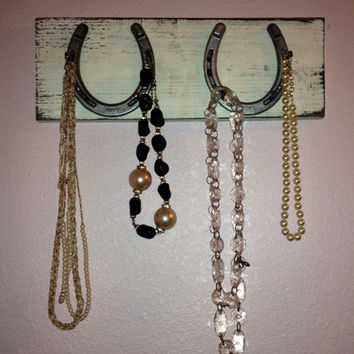 Horseshoe Necklace Holder...Distressed painted with real horseshoes...jewelry hanger...accessory rack...