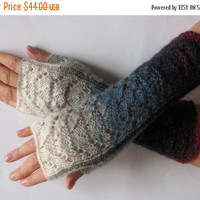 regular price Fingerless Gloves Blue Gray Off White Burgundy wrist warmers