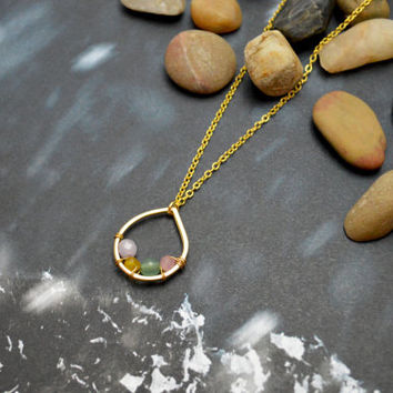 A-102 Open drop necklace, Gemstone necklace, Jade necklace, Simple necklace, Modern necklace, Gold plated/Bridesmaid/gifts/Everyday jewelry/