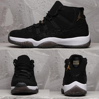 [Free Shipping]Nike Air Jordan 11 Retro PREM HC XI Heiress Stingray AJ11 Black Gold Basketball Sneaker