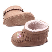 Newborn Toddler Baby Boy Girl Warm Fringe  Snow Boots Stripes Soft Sole Booties First Walkers