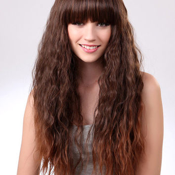 Classic Light Brown Synthetic Curly Chic Long Wig