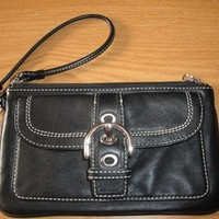Coach Soho Buckle Leather With Buckle Pocket Black Wristlet