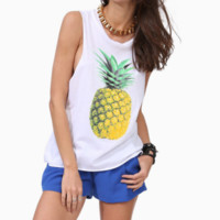 Fashion Pineapple Print Casual Loose Tank Top T Shirt