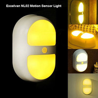 Excelvan®NL02 Motion Sensor LED Night Light Warm Yellow Light Used For Bathrooms, Basement, Hallway, Laundry Room, Stairwells, Path, Closets,Smart Nightlight for Kids Baby Room (Color: Warm Yellow) = 1841736900