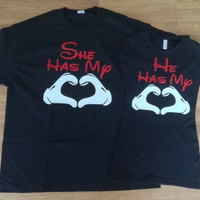 Free/Fast Shipping for US She/He has my heart  Matching Couples Tank Tops/Shirts:
