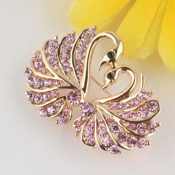 Brooches 18 Gold Plated Austria Crystal Swarovski Gift