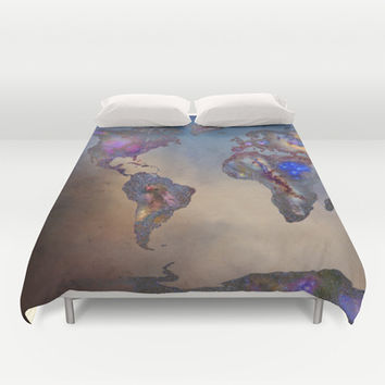 Stars world map. Blue Duvet Cover by Guido Montañés