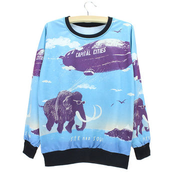 Fire balloon & elephant print womens sweatshirt  design Autumn clothing the Western fashion style pullovers dropshipping