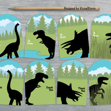 Dinosaur Gift Tags, Digital Dinosaurs Hang Tag, Dinosaur Thank You Tags, Dinosaur Party Favors, Printable DIY Gift Tags, Birthday Gift Tags