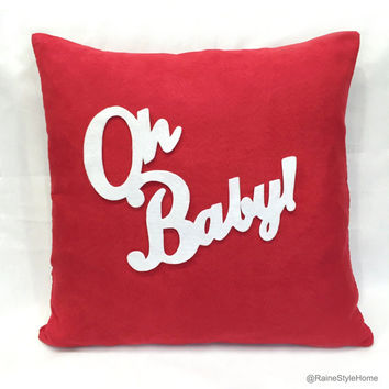 OH BABY Red And White Modern Cute Typography Valentine Pillow Cover. Decorative Throw Pillow. Couples Gift. Baby Shower Gift. Nursery Decor