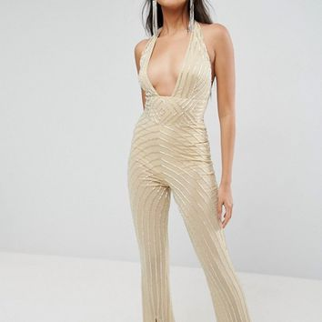 ASOS Embellished Jumpsuit with Halter and Plunge Detail at asos.com