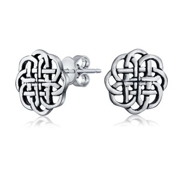 Medallion Shield Celtic Knot Circle Stud Earrings 925 Sterling Silver