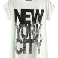 ROMWE NEW YORK CITY Print White T-shirt