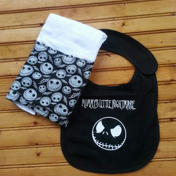 Nightmare before Christmas bib and burp cloth set