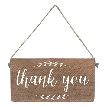 Thank You | Mini Wood Plank with Jute Hanger | 11-in